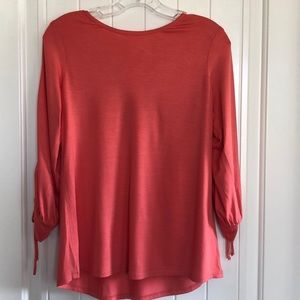 Trina Turk Coral Top open sleeves low back Small